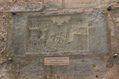 A bit of 18th century graffiti from a prisoner in Tour de la Lanterne.