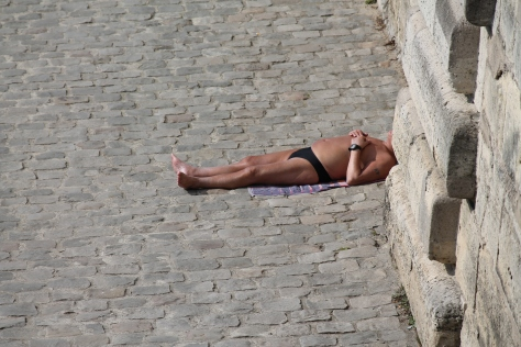 Sunbathing by the Seine in MARCH!