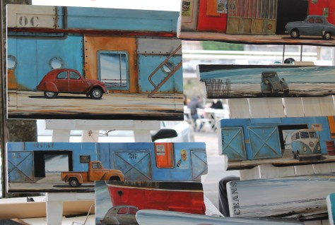 Car art from a street vendor, since I'm not able to photograph cars speeding at me.