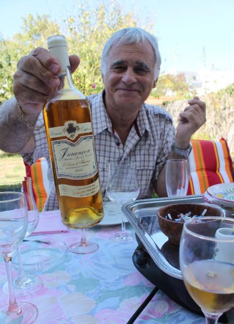 Jacky with wine to accompany the foie gras