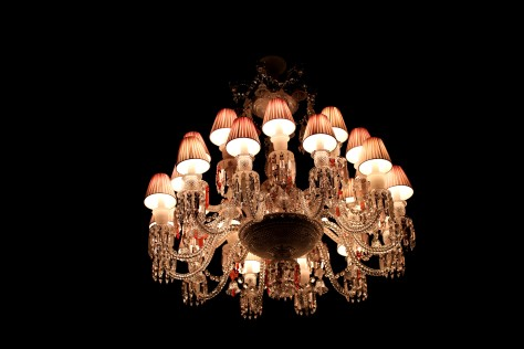 Baccarat Pink Lampshade Chandelier