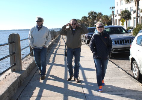David, Tom and Lexi at The Battery, Charleston